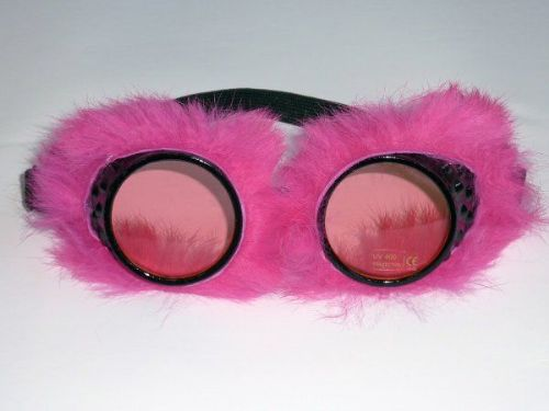 Party Glasses Fur Lined Pink Hen 60s 70s Glam Bridal Shower Freedom Party
